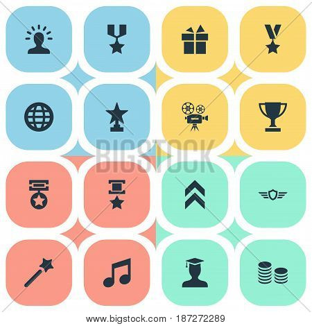 Vector Illustration Set Of Simple Awards Icons. Elements Present, World, Triumphant And Other Synonyms Medallion, Champion And Award.