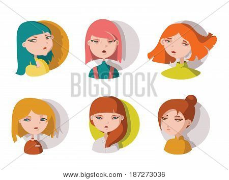 Hand drawn young girls heads isolated on white. Bright cute girls drawn with different hair color and various face expression. Vector illustration good for icons character or avatar