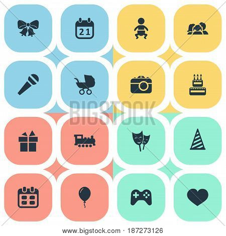 Vector Illustration Set Of Simple Birthday Icons. Elements Soul, Resonate, Train And Other Synonyms Soul, Date And Heart.