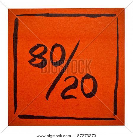 Pareto principle or eighty-twenty rule represented on an isolated sticky note - a reminder or advice