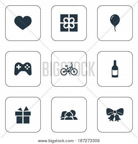 Vector Illustration Set Of Simple Holiday Icons. Elements Soul, Ribbon, Resonate And Other Synonyms Game, Present And Joystick.