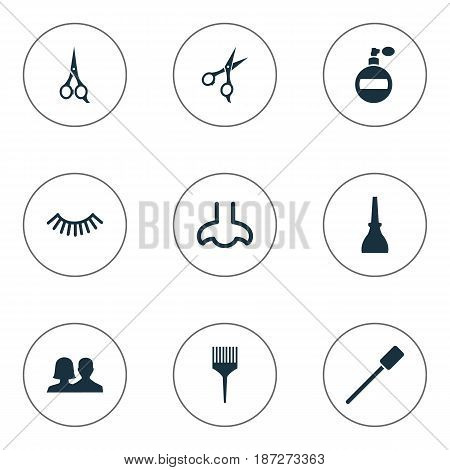 Vector Illustration Set Of Simple Spa Icons. Elements Fragrance, Eyelash Brush, Barber Tool And Other Synonyms Couple, Unisex And Nose.