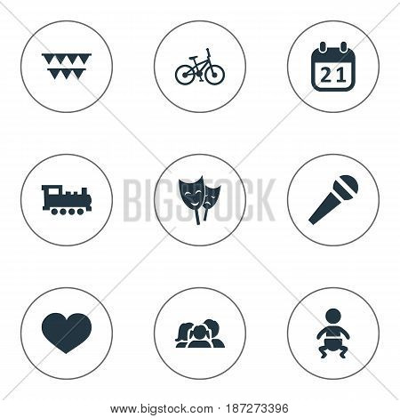 Vector Illustration Set Of Simple Holiday Icons. Elements Mask, Infant, Speech And Other Synonyms Day, Actor And People.