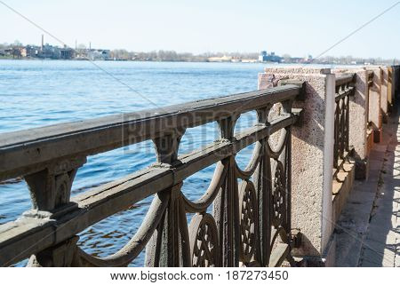 The left bank of the Daugava Riga fencing from stone to railway bridge