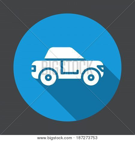 Car sedan flat icon. Round colorful button circular vector sign with long shadow effect. Flat style design