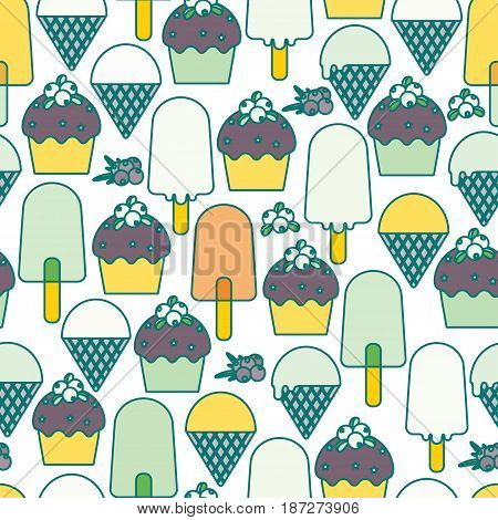 Ice cream and muffins. Seamless pattern. Vector illustration.