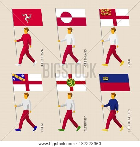 Set of simple flat people with flags of countries and islands. Standard bearers infographic - Greenland, Liechtenstein, Isle of Man, Herm, Sark, Alderney
