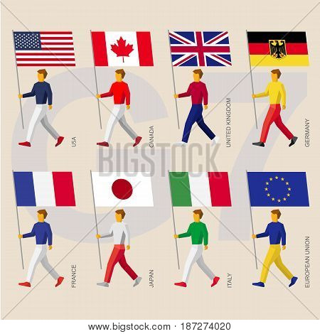 Set of simple flat people with flags  of Group of Seven (G7) and European Union. Standard bearers infographic - USA, Canada, United Kingdom, Germany, France, Japan, Italy, EU.