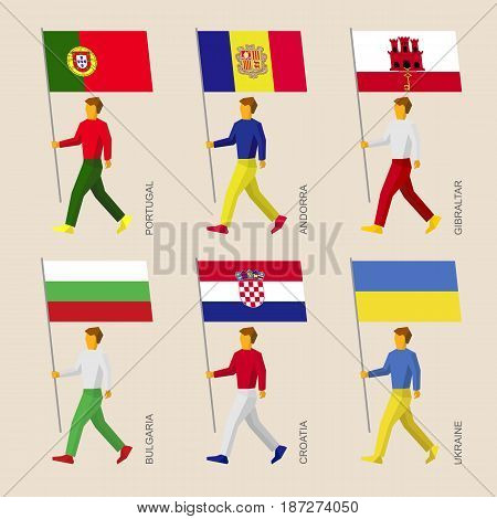 Set of simple flat people with flags of countries in Central Europe. Standard bearers infographic - Portugal, Andorra, Ukraine, Gibraltar, Croatia, Bulgaria