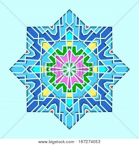 Arabesque pattern, vignette in eastern style, orient stained-glass. Design for Eid Mubarak, decorative tile of mosque 3d.