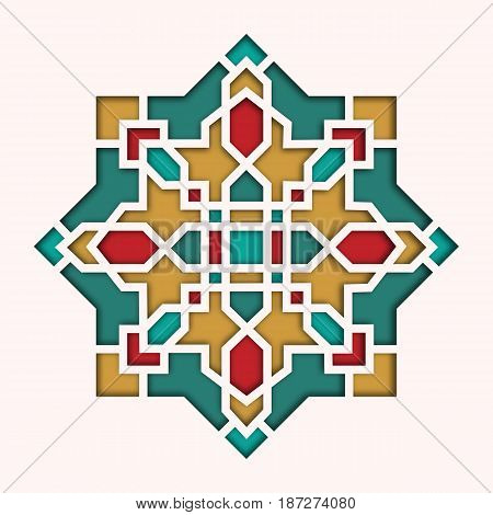 Arabesque pattern, vignette in eastern style, orient colorful stained-glass. Design for Eid Mubarak, decorative islamic tile of mosque 3d.