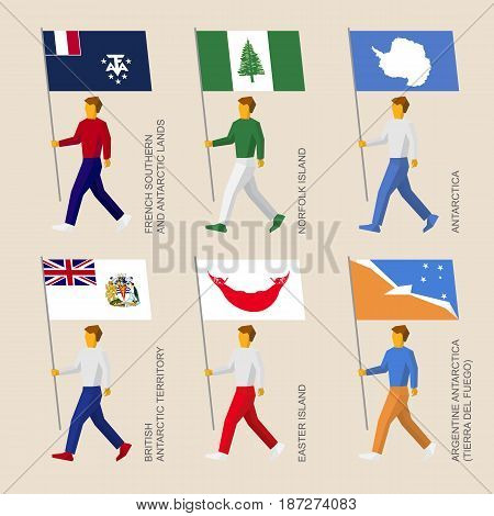 Set of simple flat people with flags of countries and territories. Standard bearers infographic - Easter Island, Norfolk Island, French Antarctic Lands, British Antarctic, Tierra del Fuego