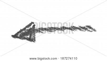 Hand drawn with the chalks arrow symbol isolated over the white background