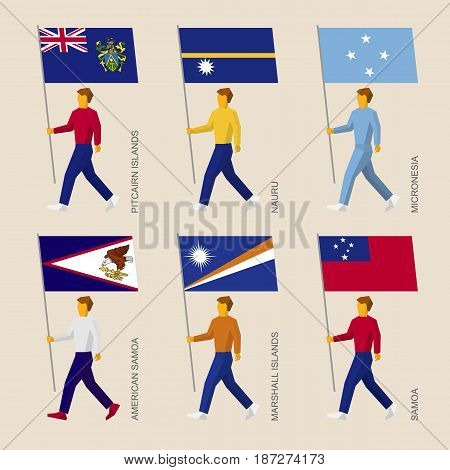 Set of simple flat people with flags of countries in Oceania. Standard bearers infographic - Pitcairn Islands, Nauru, Micronesia, Samoa, American Samoa, Marshall Islands