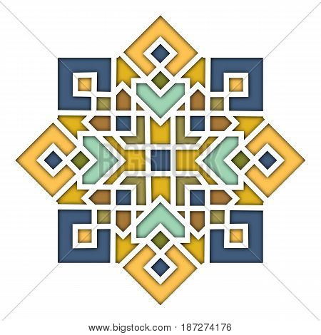 Arabesque eastern pattern, vignette in islamic style, oriental colorful stained-glass. Illustration for Eid Mubarak, decorative tile of mosque 3d. Spanish, Turkish, Mexican motif