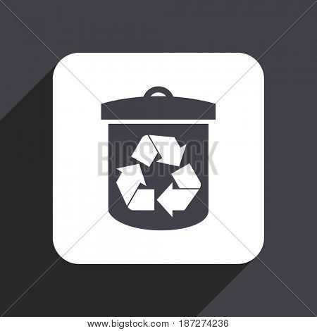 Recycle flat design web icon isolated on gray background