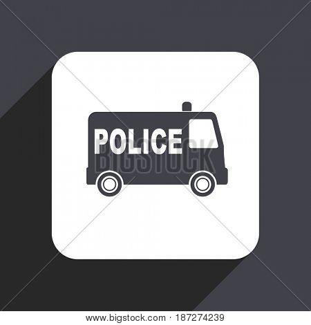 Police flat design web icon isolated on gray background