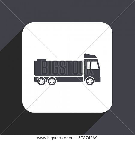 Truck flat design web icon isolated on gray background