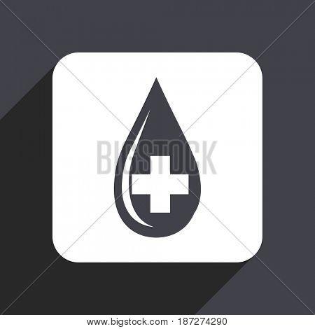 Blood flat design web icon isolated on gray background
