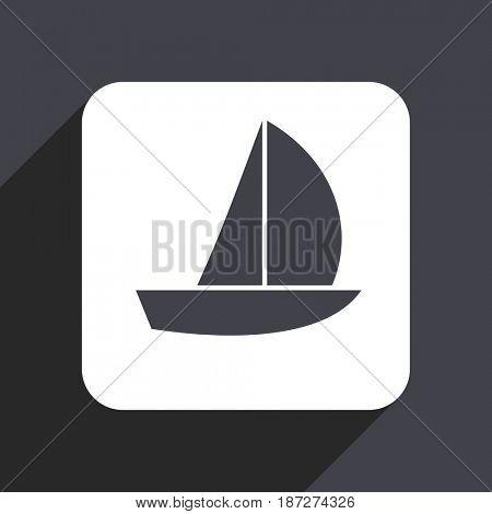 Yacht flat design web icon isolated on gray background