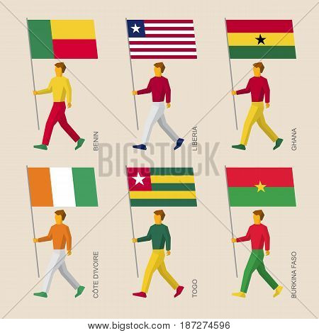 Set of simple flat people with flags of African countries. Standard bearers infographic - Mali, Sierra Leone, Guinea, Gambia, Senegal, Guinea-Bissau