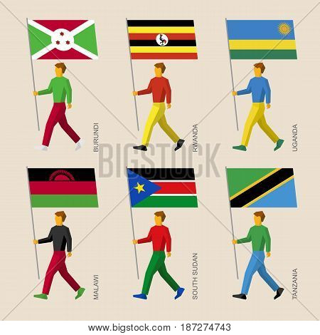 Set of simple flat people with flags of African countries. Standard bearers infographic - Burundi, Rwanda, Uganda, Malawi, South Sudan, Tanzania
