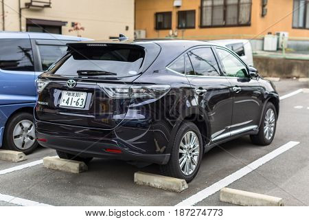 KYOTO, JAPAN - NOVEMBER 10, 2016: Toyota harrier on the street of Kyoto in Japan. The Toyota Harrier is a mid-size crossover SUV selling in Japan.