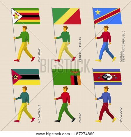 Set of simple flat people with flags of African countries. Standard bearers infographic - Zimbabwe, Zambia, Mozambique, Swaziland, Congo Republic and Congo Democratic Republic
