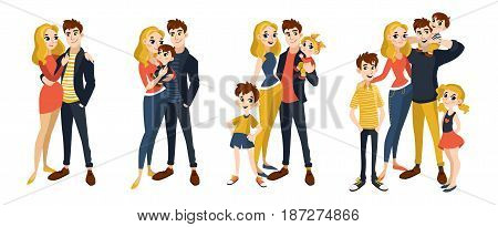 Family set with mom, dad, kids. Characters in cartoon flat style. Vector illustration of family portrait isolated on white background.