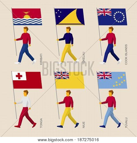Set of simple flat people with flags of countries in Oceania. Standard bearers infographic - Kiribati, Tokelau, Cook Islands, Tonga, Niue, Tuvalu