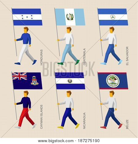 Set of simple flat people with flags of Asian countries. Standard bearers infographic - Honduras, Guatemala, El Salvador, Cayman Islands, Nicaragua, Belize