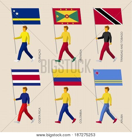 Set of simple flat people with flags of South American countries. Standard bearers infographic - Curacao, Grenada, Trinidad and Tobago, Costa Rica, Colombia, Aruba