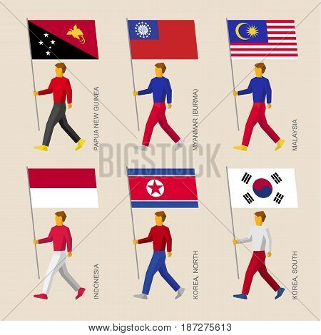 Set of simple flat people with flags of Asian countries. Standard bearers infographic - South and North Korea, Indonesia, Papua New Guinea, Myanmar (Burma), Malaysia.