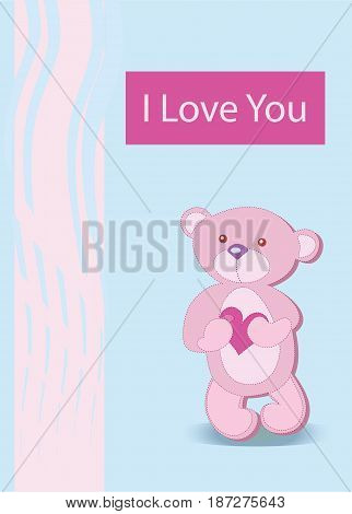 Vector illustration  on the blue background with a funny character of a bear holding in the paws of a big heart on the blue background. Concept for Valentines day postcard. I love you