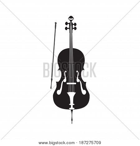 Vector black and white illustration of cello isolated on a white background. Flat style design.