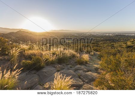 Sunrise view from Santa Susana State Historic Park in the San Fernando Valley area of Los Angeles, California.