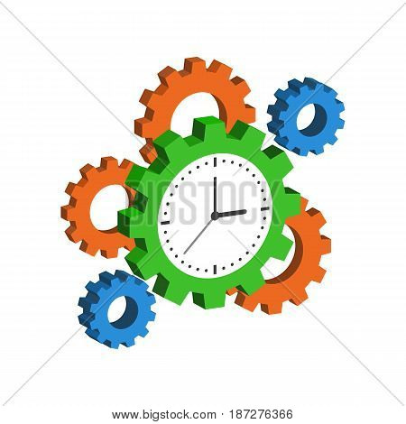 Clock With Cogwheels, Time Management Symbol. Flat Isometric Icon Or Logo. 3D Style Pictogram For We