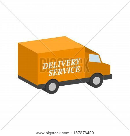 Van, Commercial Vehicle, Delivery Service Symbol. Flat Isometric Icon Or Logo. 3D Style Pictogram Fo