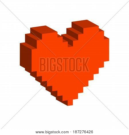 Pixel Heart Symbol. Flat Isometric Icon Or Logo. 3D Style Pictogram For Web Design, Ui, Mobile App,