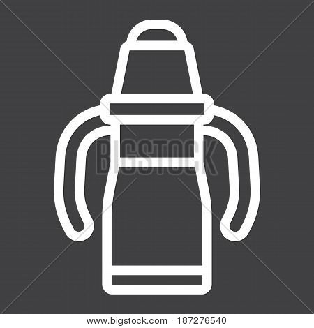 Sippy cup line icon, baby cup and bottle, vector graphics, a linear pattern on a black background, eps 10.