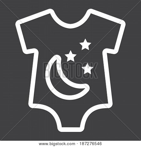 Baby romper line icon, baby clothes and kid, vector graphics, a linear pattern on a black background, eps 10.