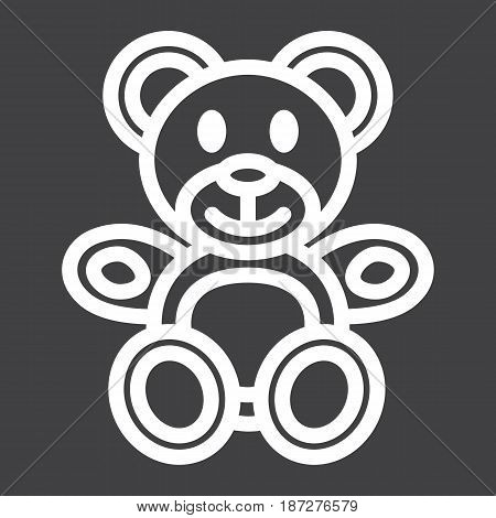 Teddy bear line icon, plush toy and baby, vector graphics, a linear pattern on a black background, eps 10.