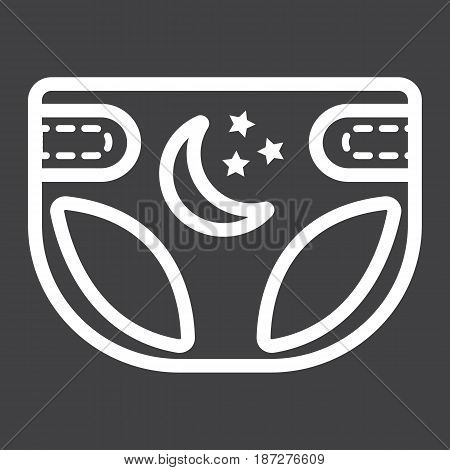 Diaper line icon, nappy and protection, vector graphics, a linear pattern on a black background, eps 10.