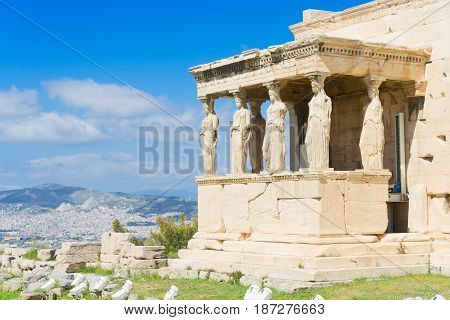 facade of of Erechtheion temple in Acropolis of Athens, Greece