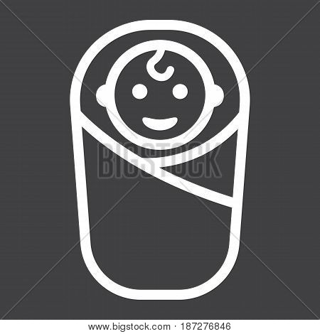 Baby birth line icon, kid and newborn, vector graphics, a linear pattern on a black background, eps 10.
