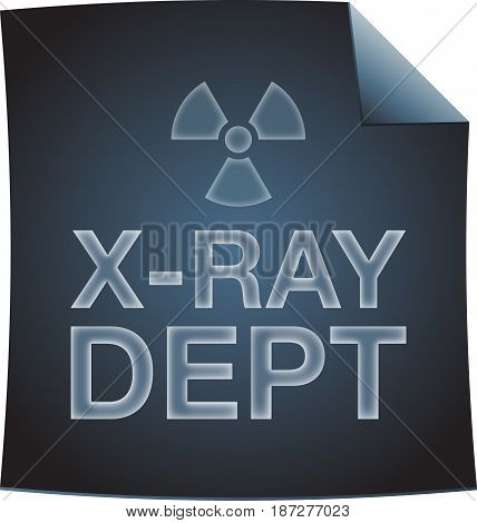 X-ray dept blueprint with radiation symbol. Isolated on white background