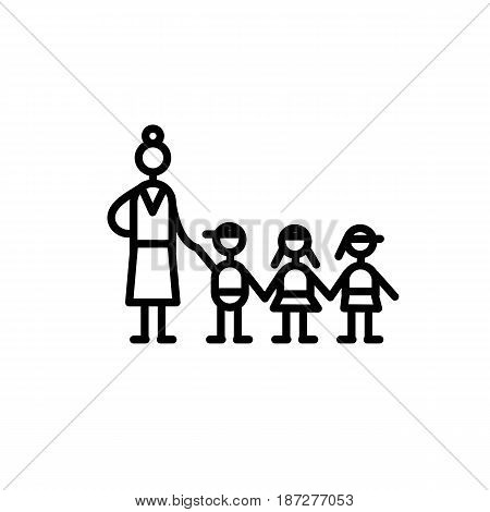 Icon flat minimal style vector, kindergarten group educator and three children are holding hands