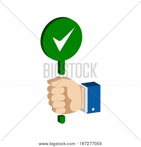 Hand With True, Accept Sign. Flat Isometric Icon Or Logo. 3D Style Pictogram For Web Design, Ui, Mob