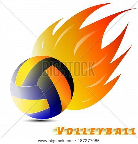 volleyball ball with red orange yellow tone of the fire in white background. volleyball logo club. vector. illustration. graphic design.