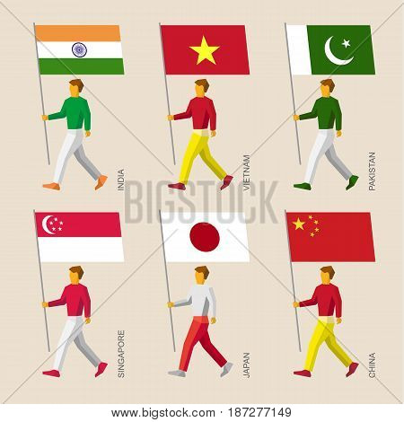 Set of simple flat people with flags of Asian countries. Standard bearers infographic - India, Vietnam, China, Singapore, Pakistan, Japan.